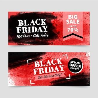 Modèle de bannières aquarelle vendredi noir