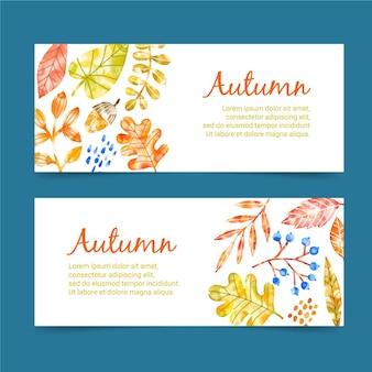 Modèle de bannières automne aquarelle
