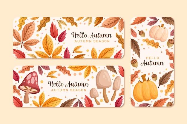 Modèle de bannières automne dessiné à la main