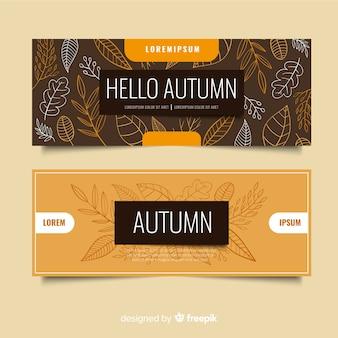 Modèle de bannières automne dessinés à la main