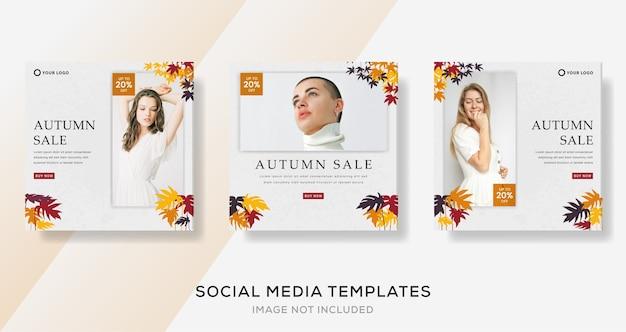Modèle de bannières d'automne pour publication sur les réseaux sociaux