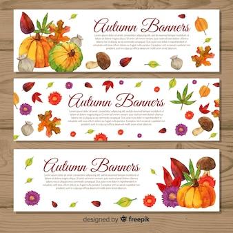 Modèle de bannières automne style aquarelle
