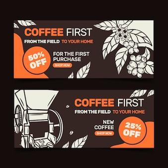 Modèle de bannières de café