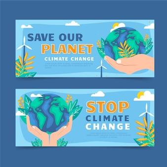 Modèle de bannières de changement climatique dessinés à la main