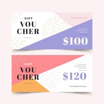 Modèle de bannières de chèque-cadeau abstrait design plat