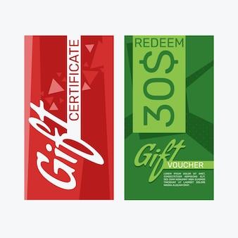 Modèle de bannières de chèque-cadeau design plat