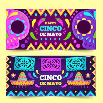 Modèle de bannières design plat cinco de mayo
