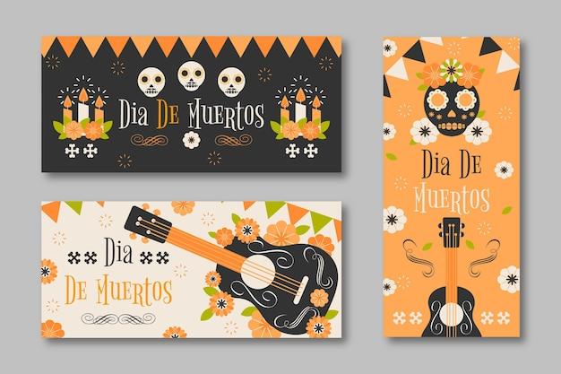 Modèle de bannières design plat dia de muertos