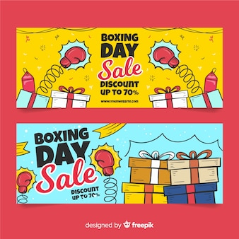 Modèle de bannières dessiné main boxing day sale