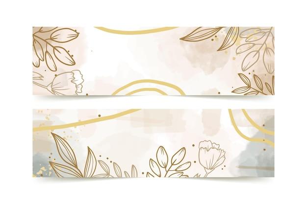 Modèle de bannières dessinées à la main aquarelle