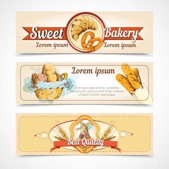 Modèle de bannières dessinées à la main de boulangerie