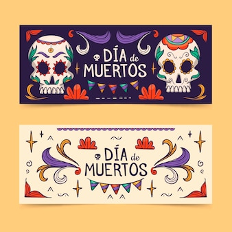 Modèle de bannières dia de muertos dessiné à la main