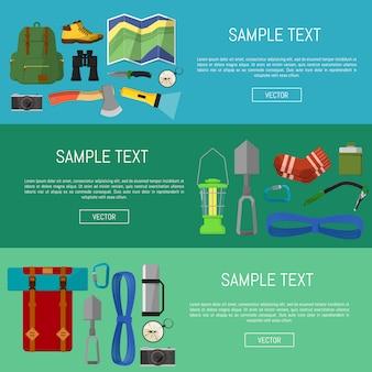 Modèle de bannières d'équipement de camping