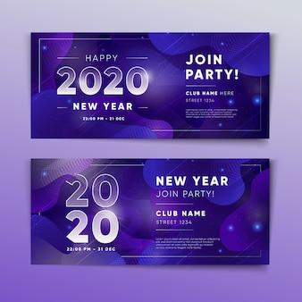 Modèle de bannières de fête abstrait nouvel an 2020