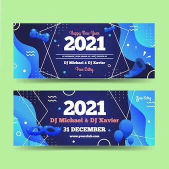 Modèle de bannières de fête abstrait nouvel an 2021