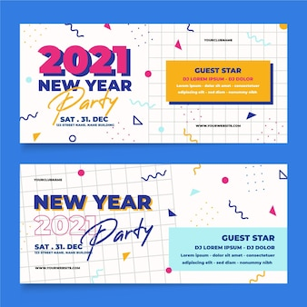 Modèle de bannières de fête design plat nouvel an 2021