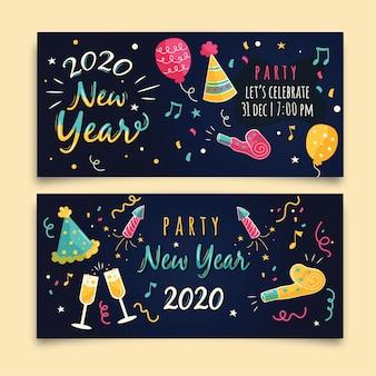 Modèle de bannières de fête dessiné main nouvel an