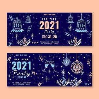 Modèle de bannières de fête du nouvel an 2021 dessiné à la main