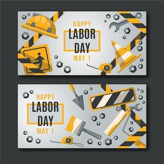 Modèle de bannières de fête du travail design plat