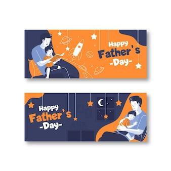 Modèle de bannières de fête des pères design plat
