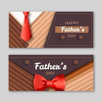 Modèle de bannières de fête des pères réaliste