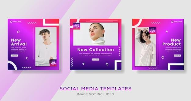 Modèle de bannières géométriques modernes pour publication sur les médias sociaux.