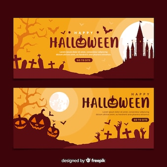 Modèle de bannières halloween design plat