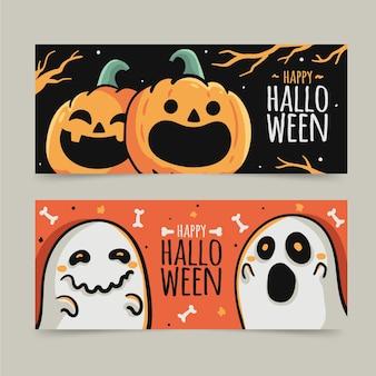 Modèle de bannières halloween dessinés à la main