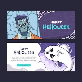 Modèle de bannières halloween heureux