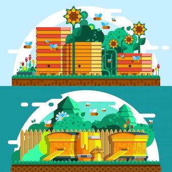 Modèle de bannières horizontales d'apiculture
