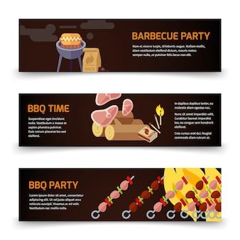 Modèle de bannières horizontales bbq et steak. viande, charbon, bois de chauffage et barbecue