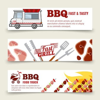 Modèle de bannières horizontales bbq et steak