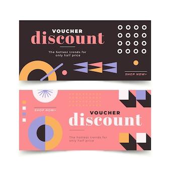 Modèle de bannières horizontales de bon cadeau design plat