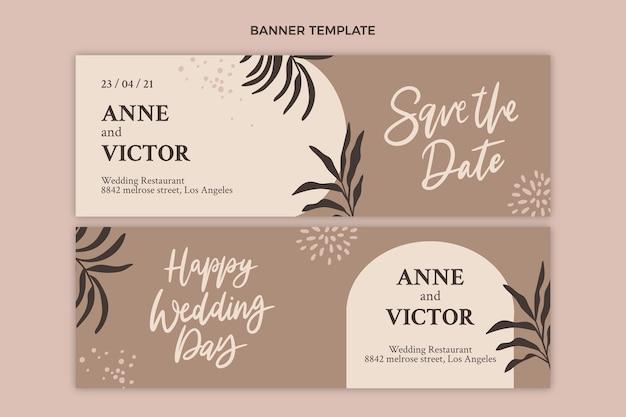 Modèle de bannières horizontales de mariage dessinés à la main
