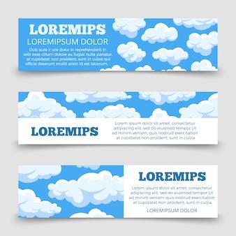 Modèle de bannières horizontales nuages dessin animé