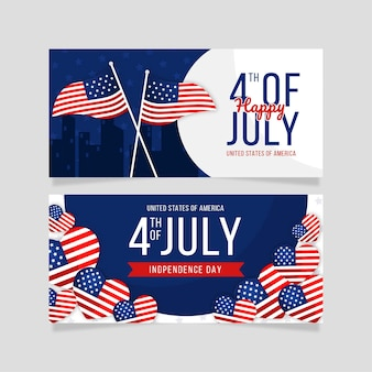 Modèle de bannières horizontales pour la fête de l'indépendance