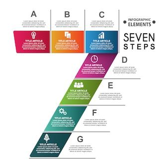 Modèle de bannières infographiques 7 étapes