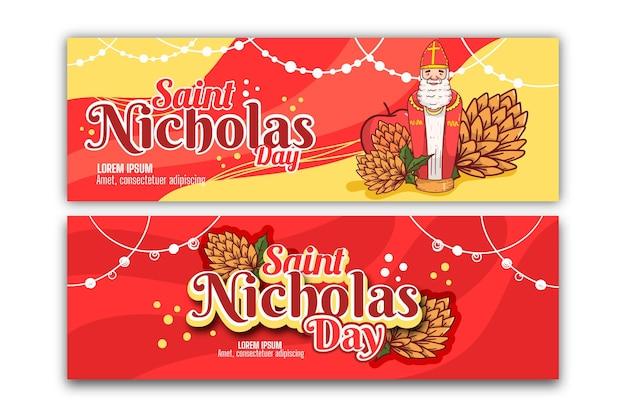 Modèle de bannières de jour de saint nicolas design plat