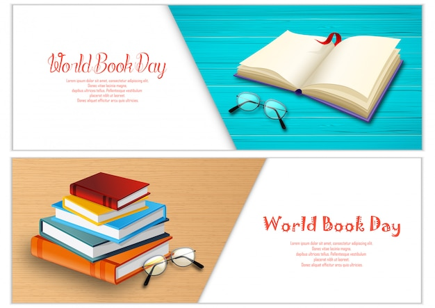 Modèle de bannières de la journée du livre mondial