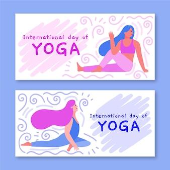 Modèle de bannières avec la journée internationale du yoga