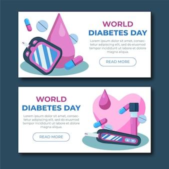 Modèle de bannières de la journée mondiale du diabète