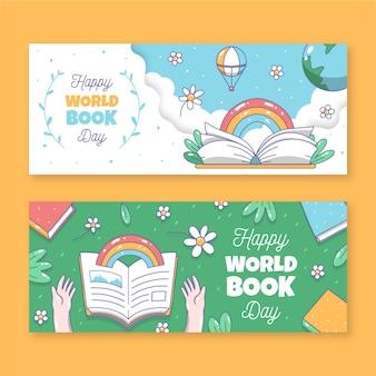 Modèle de bannières avec la journée mondiale du livre
