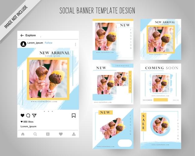 Modèle de bannières de médias sociaux avec style de pinceau
