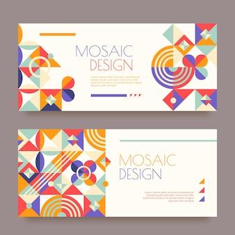 Modèle de bannières en mosaïque plate