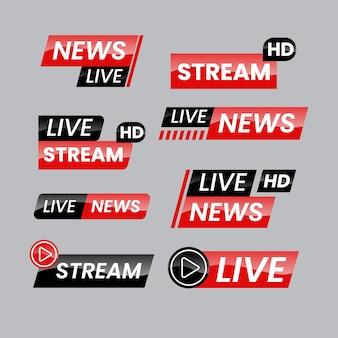 Modèle de bannières de nouvelles en direct