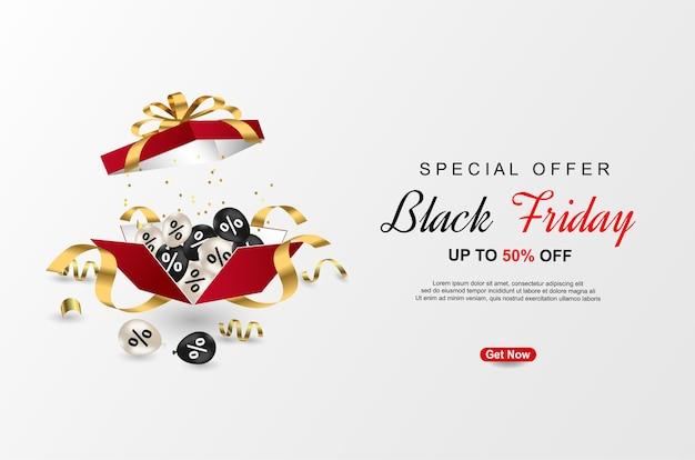Modèle de bannières offre spéciale vendredi noir avec boîte-cadeau réaliste.