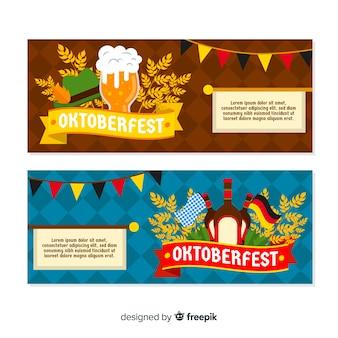 Modèle de bannières oktoberfest design plat