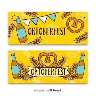 Modèle de bannières oktoberfest dessinés à la main