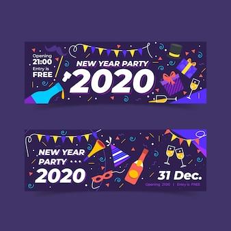 Modèle de bannières parti dessiné main nouvel an 2020