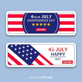 Modèle de bannières plat 4 juillet
